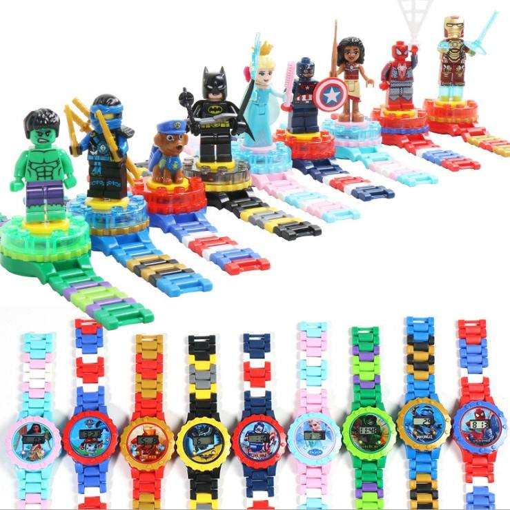 Fashion Gift Prinses Hero Mini Action Figures Gemonteerd Spinning Roterende Bouwsteen Digitale Horloge Speelgoed Voor Kid