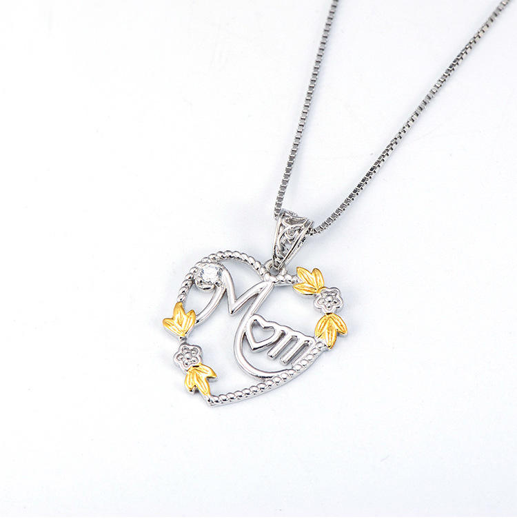 China Golden Supplier Heart-shaped Mother's Day gift Trendy 925 Sterling Silver necklace