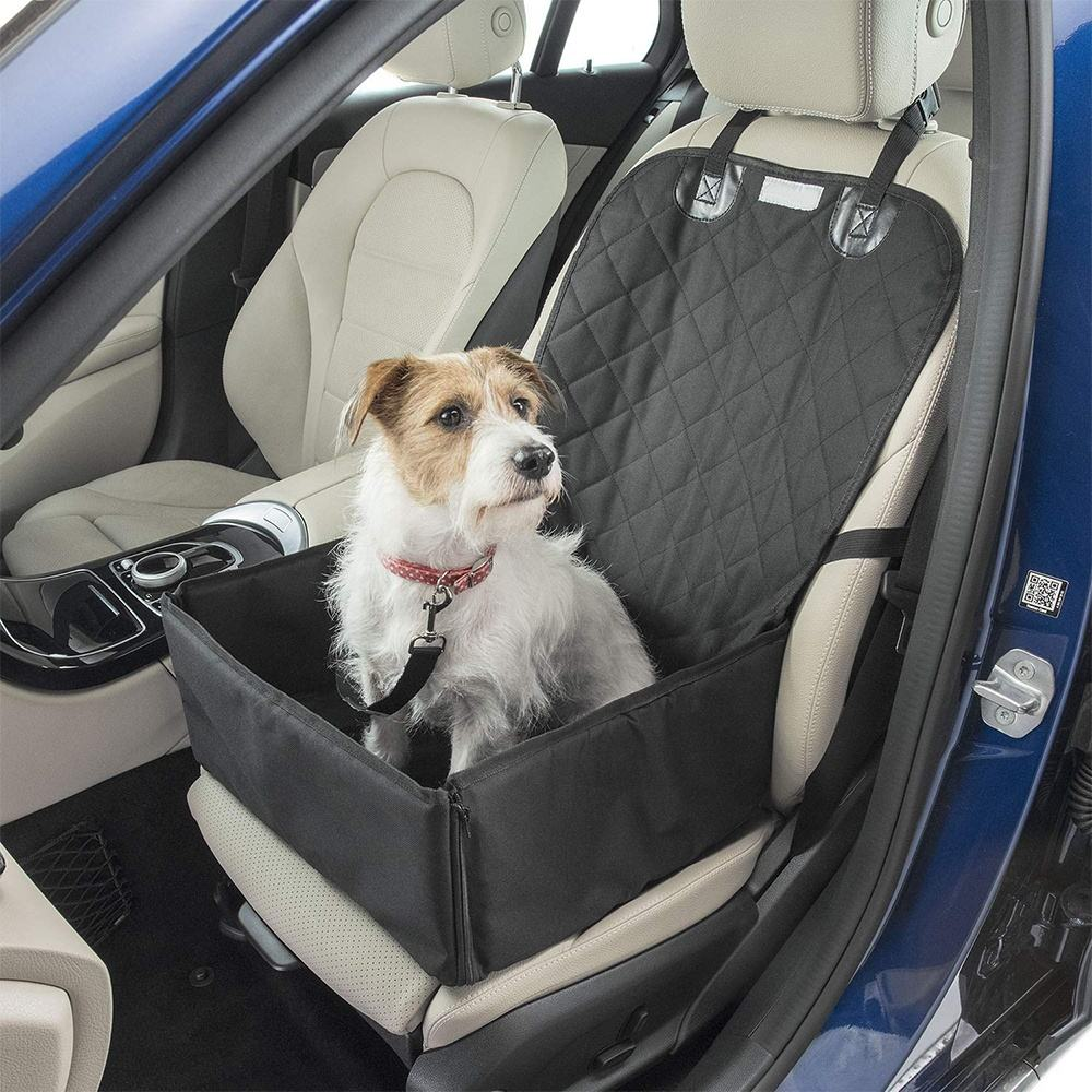 Dog Car Seat Cover Waterproof Covers Fold Down Flaps for Full Front Coverage or Small Basket Hammock