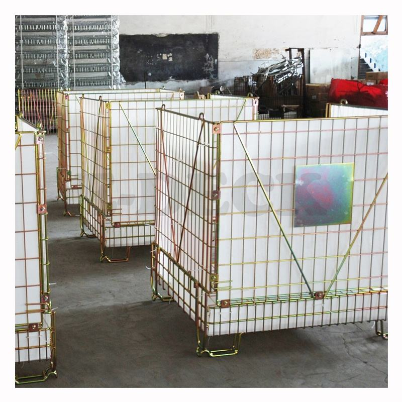 PET Preform Storage Stacking Galvanized Mild Steel Collapsible Warehouse Folding Metal Welded Wire Mesh Storage Cage Container