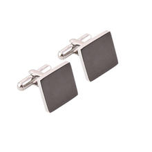 Customized 316 Stainless Steel Square Black Color Custom Blank Cufflink men