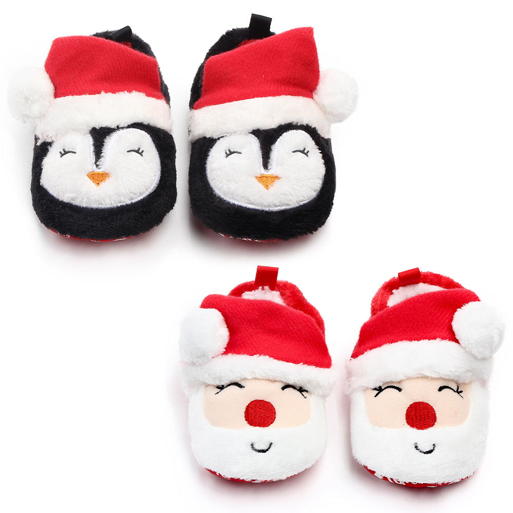 New style Coral fleece Lovely Christmas soft bottom holiday outdoor infant shoes baby