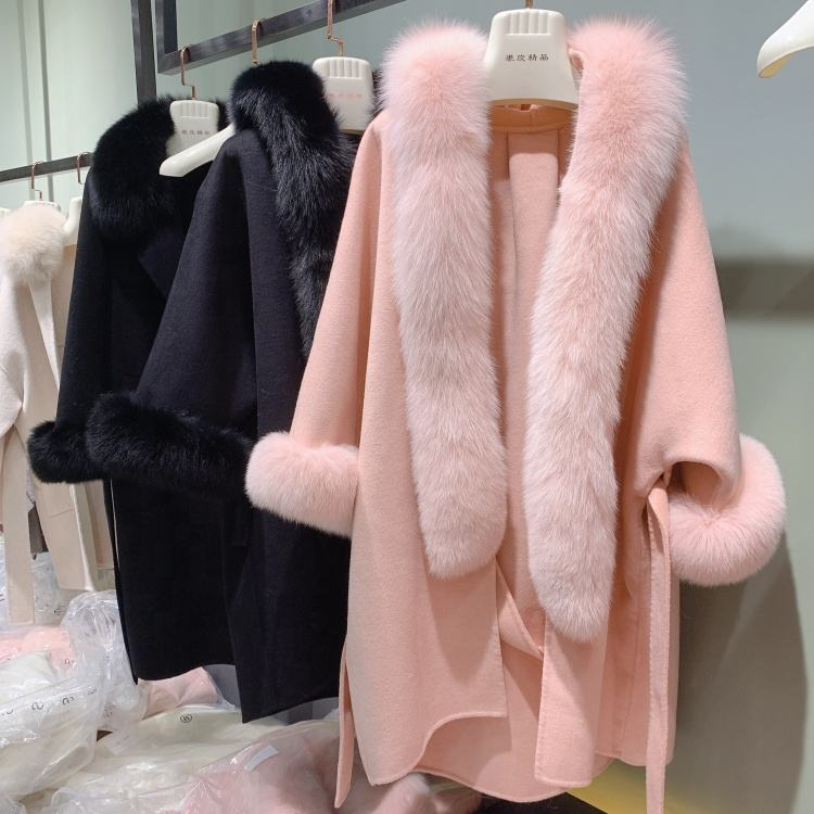 2020 vintage women wool shawl double side cashmere cape big fox fur collar overcoat loose style drop shoulder pink woolen coat
