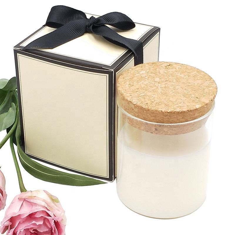 Wholesale Custom Jar Holder Luxury Glass Candle Jars With Cork Lids