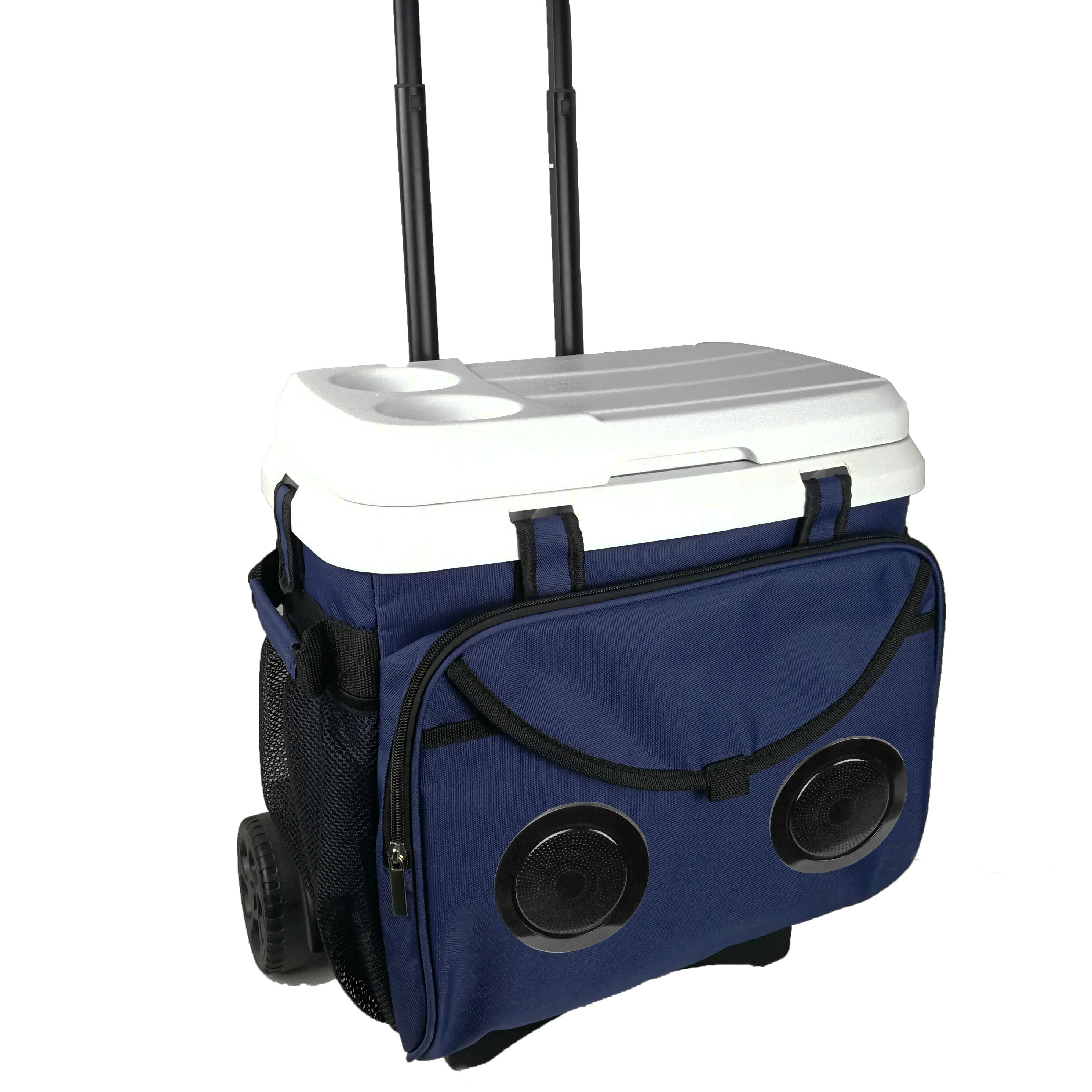 18/28/38 liters Wheeled Trolley speaker cooler box Ice chest cooler with Bluetooth speaker