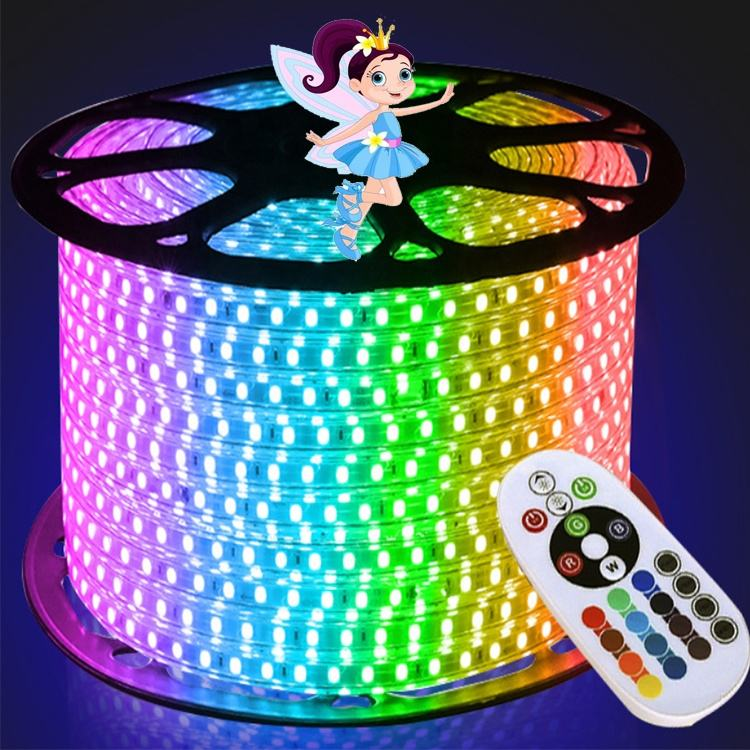 220V 110V 50Hz Dimmable Flexible LED Strip 5050 100 M IP67 Tahan Air RGB Wearable LED Strip Lampu untuk Dekorasi