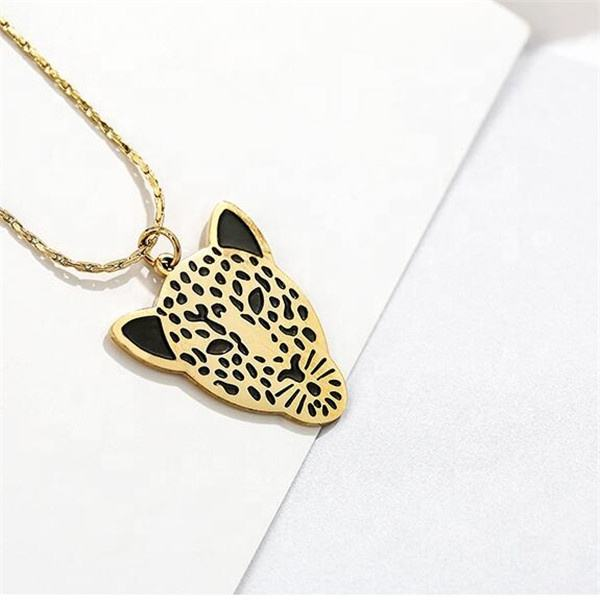 Yiwu Aceon Stainless Steel Women Punk Style Etch Engraved Dot Black Enamel Cool Leopard Head Necklace