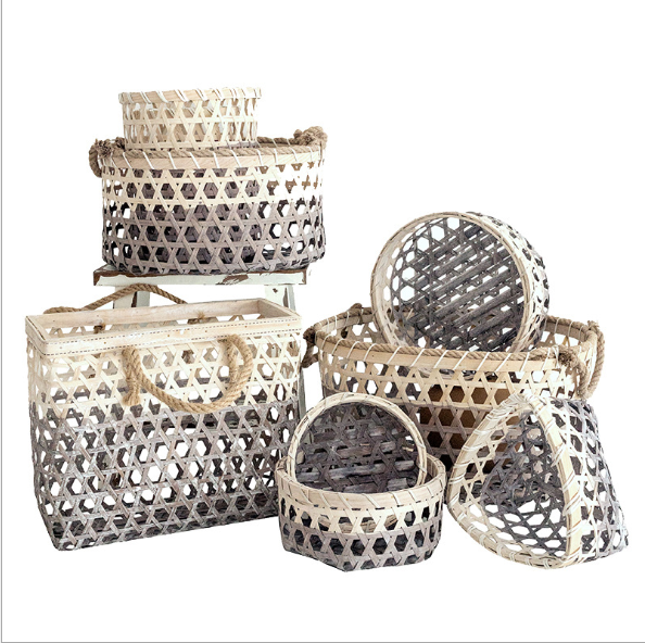 Bamboo basket with grey gradient basket window display bamboo bread storage photography props bamboo
