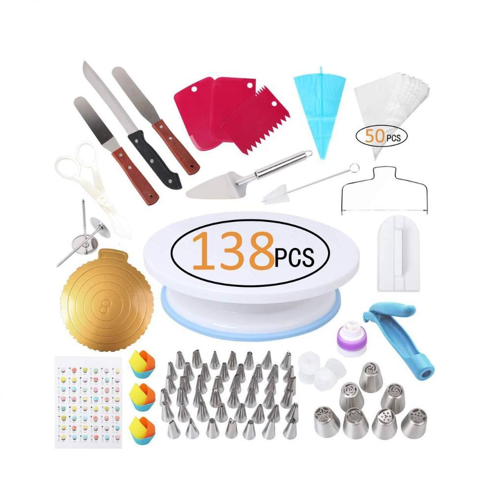 138 Pcs Hot Selling Cake Decorating Supplies Kit Fondant Cake Decorating Set Cake Decorating Tools Pastry for Baking Tools