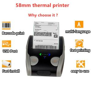 Saku Ponsel 58 Mm Bar Kode QR Stiker Cetak ESC Pos Bluetooth Handheld Mini Portable Thermal Printer Label untuk Android IOS