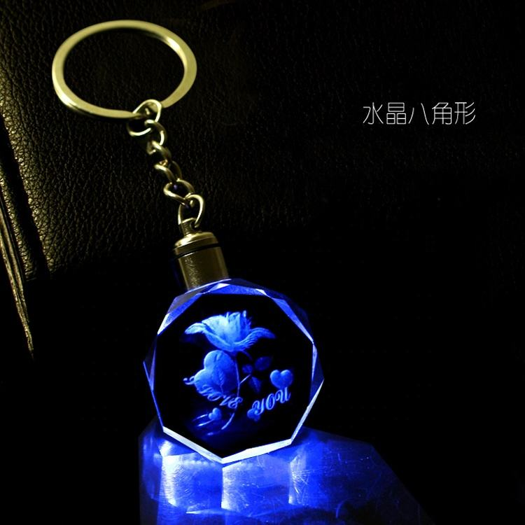 Decoration Keychain Keychain Pendant Guangzhou Wholesale Healing Crystal Heart Keychain With LED Light For Keychain Pendant Decorations