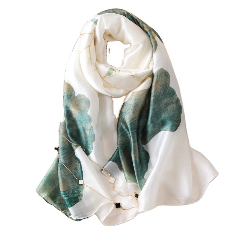 Wholesale 2019 fashion lotus white silk scarf high quality women custom print shawl neck satin chiffon scarf