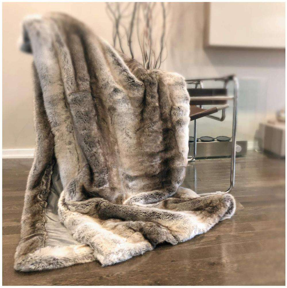 Cream Mink or Blush Super Soft Thick Warm shaggy Faux Fur Throw Blanket