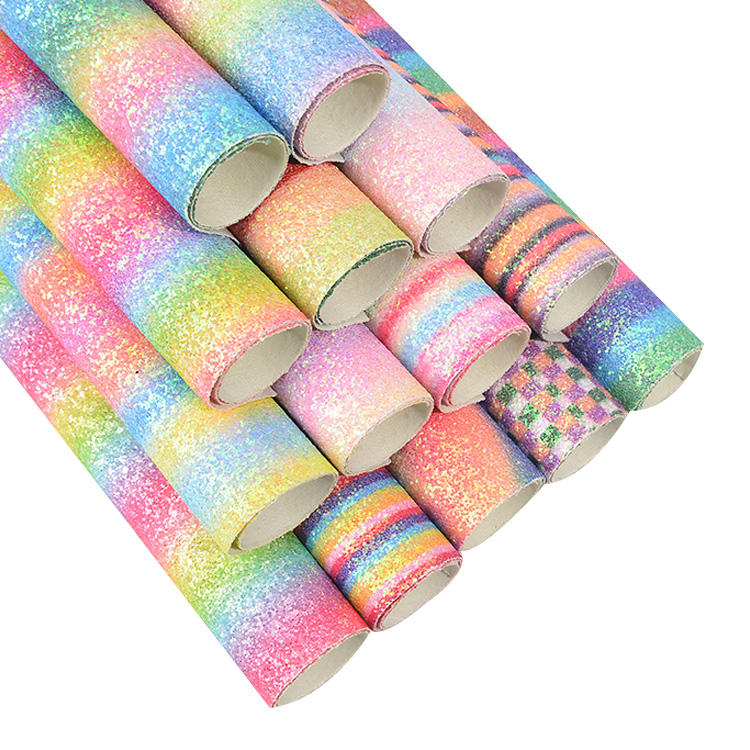 54 inch (1.37m) Rainbow Iridescent Chunky glitter PU leather for hairbow