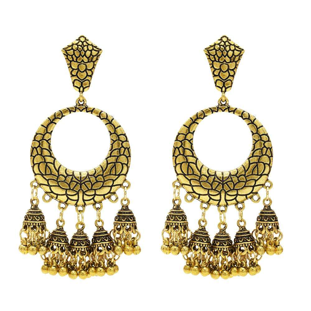 Balls Long Tassel Chandelier Jhumka Earrings Indian Big Gold Silver For Women Wedding Party Jewelry