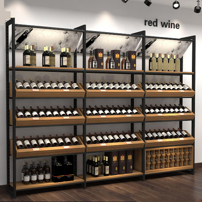 Modern wood wine display showcase cabinet store home furniture