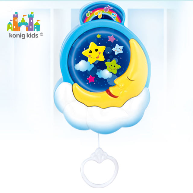 Konig Kids Wind Up Music Box Moon Plastic Crib Musical Baby Mobile