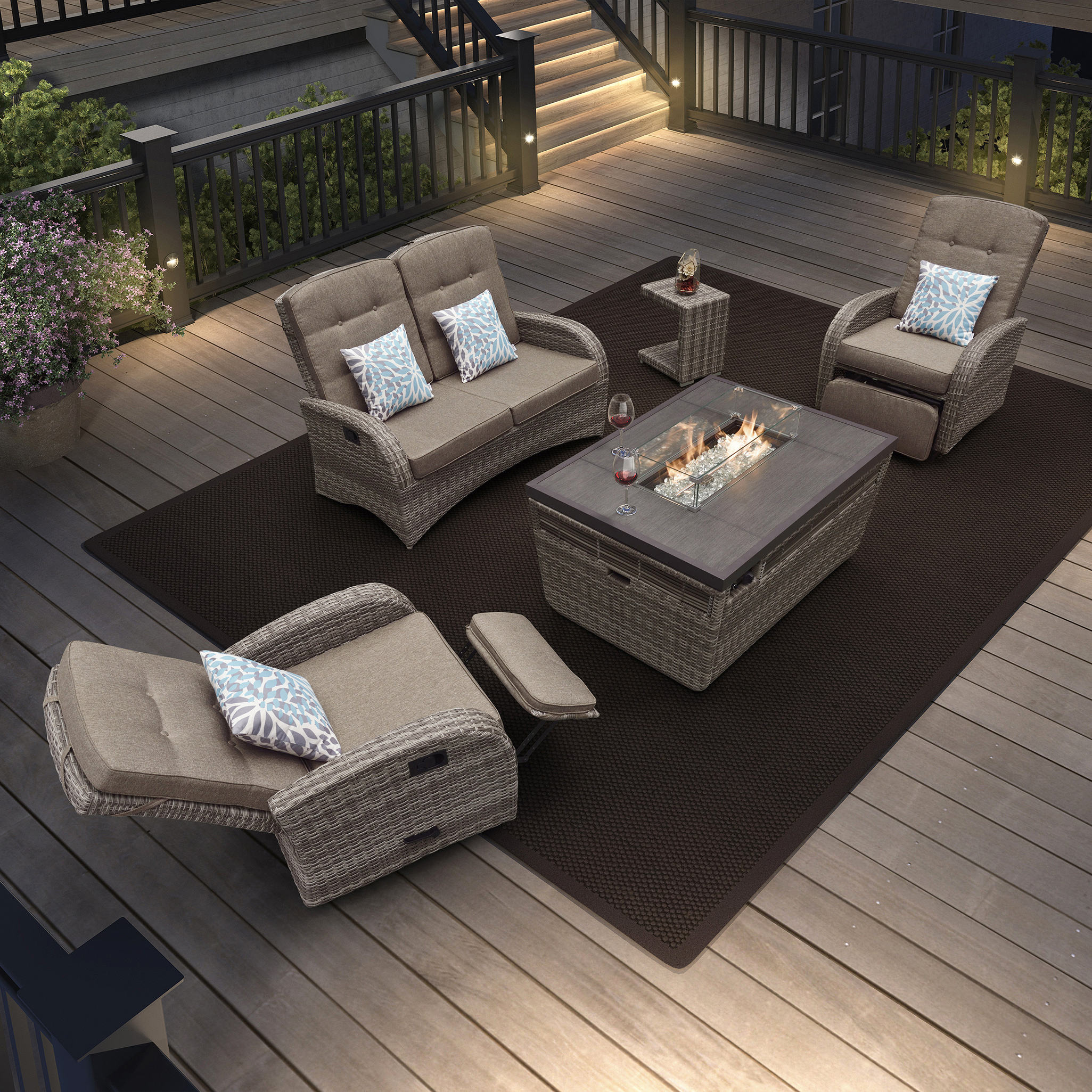 Tuin Sofa Set 4 Zits Keramische Top Patio Outdoor Gas Vuurkorf