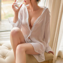 Foreign trade sexy chiffon white shirt big size perspective sexy lingerie sexy transparent uniform temptation to wear