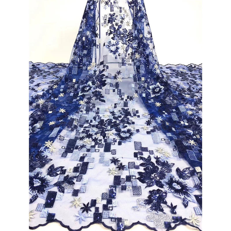 Beautifical Del Ricamo di Tulle Fancy Royal Blu Tessuto Africano Del Merletto Francese Net Lace <span class=keywords><strong>Trim</strong></span> con Paillettes ML1N1856