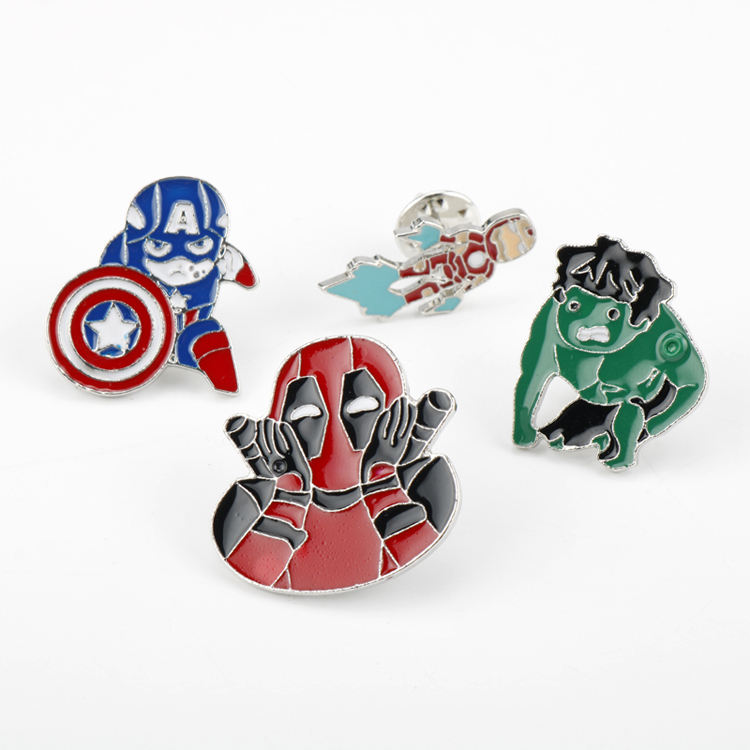 Hot movie Avenger pin brooch jewelry cartoon Iron Man America Captain Metal enamel Lapel pin for Fans kids Cute badge brooches