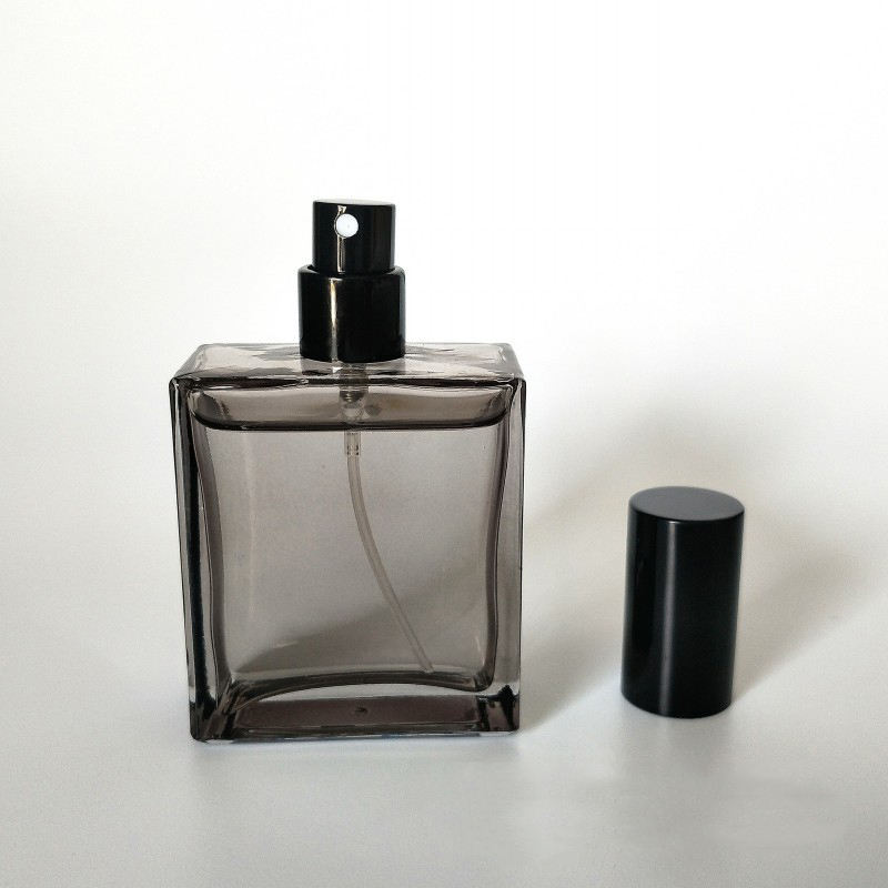 50ml Square Flat Glass Transparent Black Spray Perfume Bottle