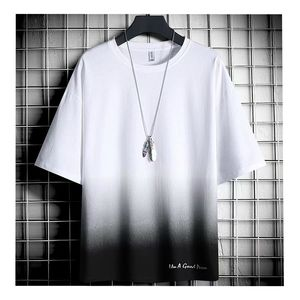 2020 new summer Korean Trend Men dip dye T Shirt fashion Street wear loose simple Tops Men clothing