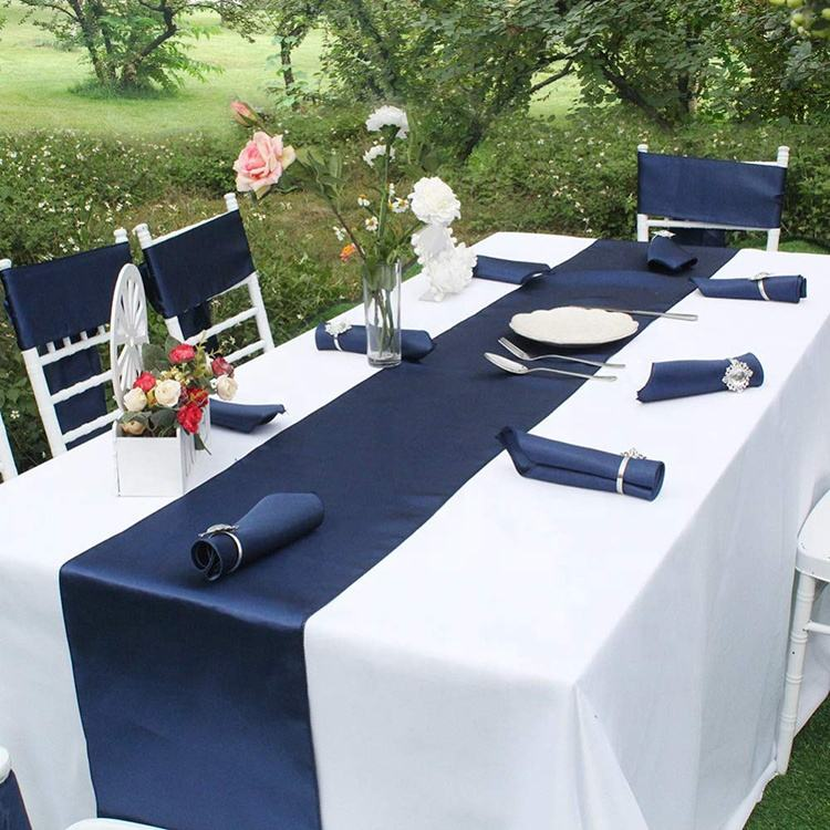 12x108 inch Wholesale high quality Amazon Luxury shiny navy blue party banquet wedding Satin Table Runner