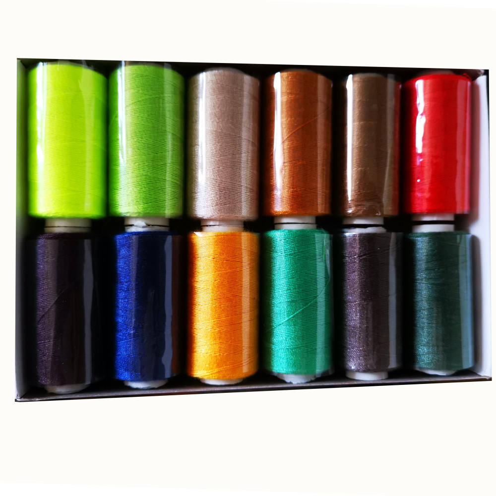 Sewing Thread Kit 100% Spun Polyester Thread 12Colors kit 500Yards for Both Hand and Machine Sewing Use Ready to Ship