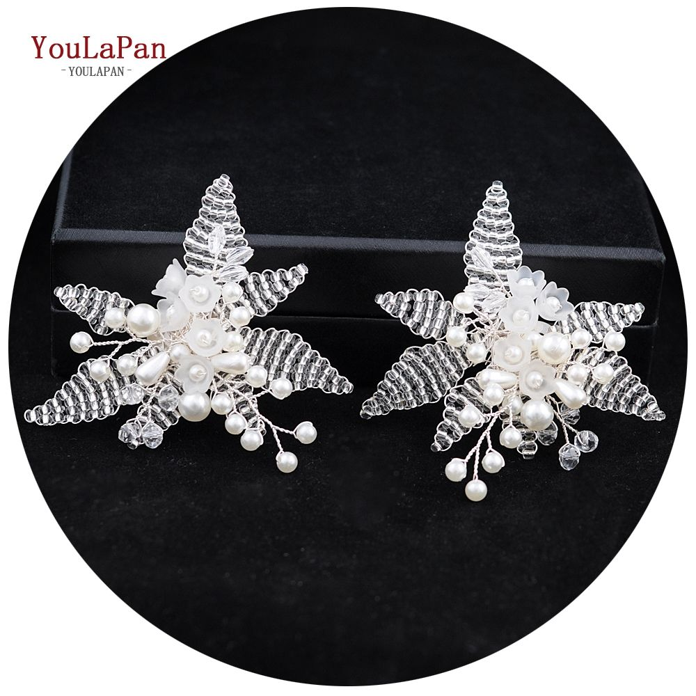 YouLaPan X07 Wholesale Bridal Shoe Clips Accessories with Flower Transparent Beads
