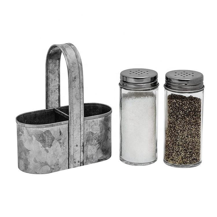 Rustic Vintage Galvanized Farmhouse Salt and Pepper Shakers with Caddy Set Decor - Weddings, Restaurants 2-Piece Set