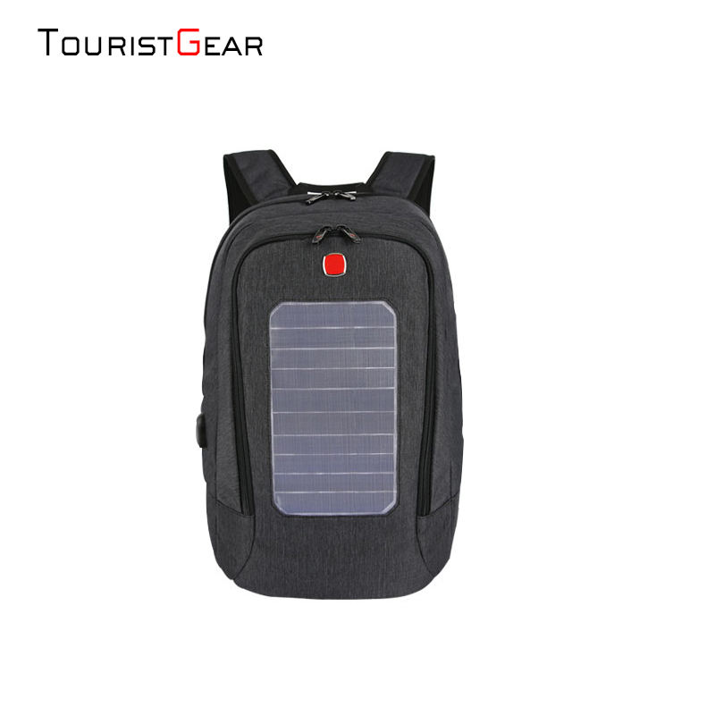 large capacity solar backpack environmental bag wholesale good quality waterproof USB college business laptop bagpack