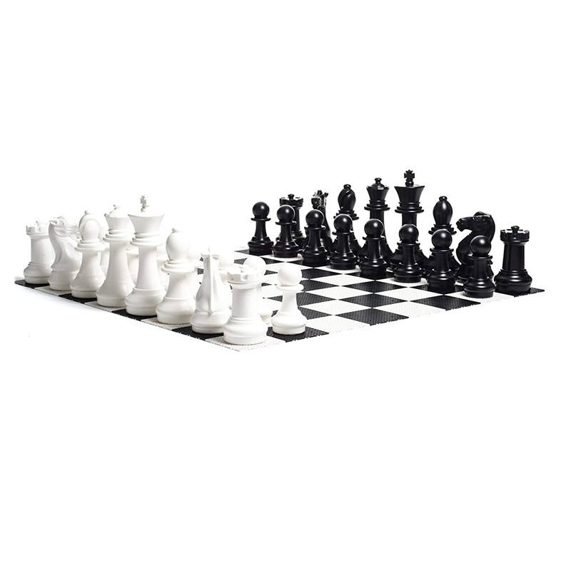 Large Outdoor Giant Chess Set - 16 inch King, with Large Checkers Set and Large Plastic Chess Board