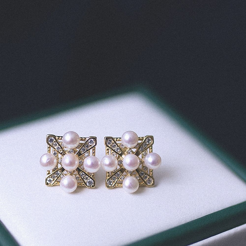 Ms square natural pearl 18 k gold earrings fashion high quality sterling silver earrings