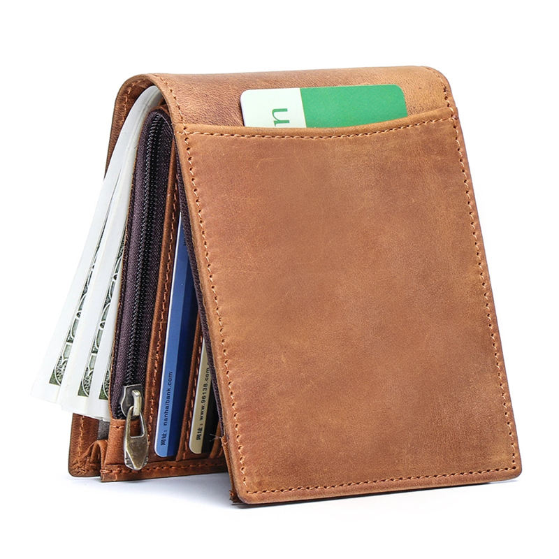 2020 Minimalist Brown Men Wallet Purse Genuine Leather Wallet For Men