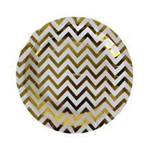 Gold Stripe  Disposable Tableware Paper Plates For  Wedding  Party Supplies