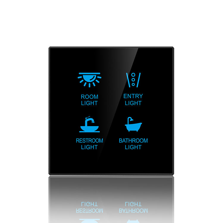 Smart Home Touch Light Wall Switch 4gang for z wave and Knx or Dali System