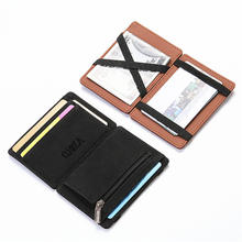Hot Style Leather with Elastic Straps Flip 3 Fold Magic Wallet
