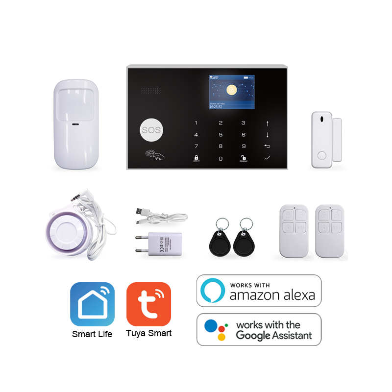 Tuya smart life 4g home security alarm system with wireless pir motion sensor and ip camera security system