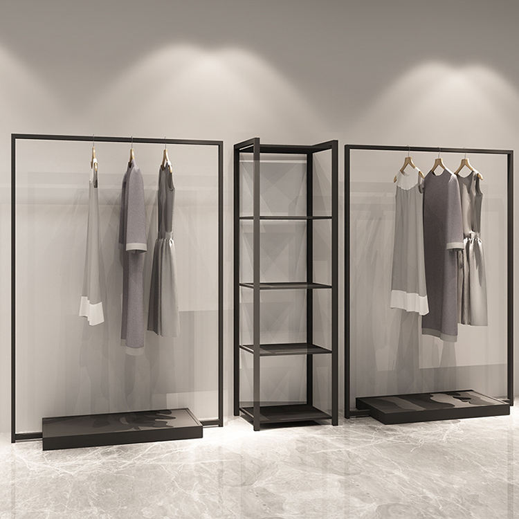 Clothes Store Black Coating Metal Hanging Cloth Display Racks Stand Retail Clothing Rack
