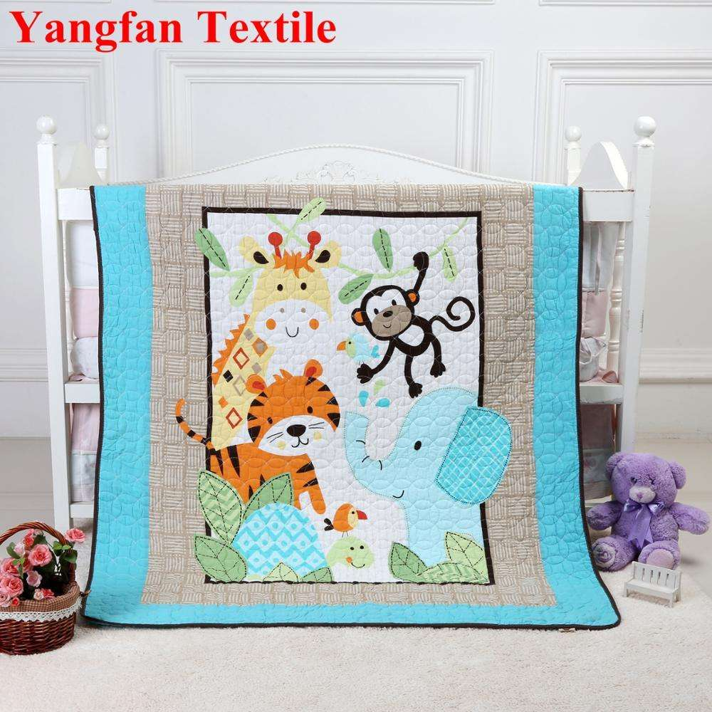 China Manufacturing Cheap Blue Cartoon Animals Cotton Quilted For Children