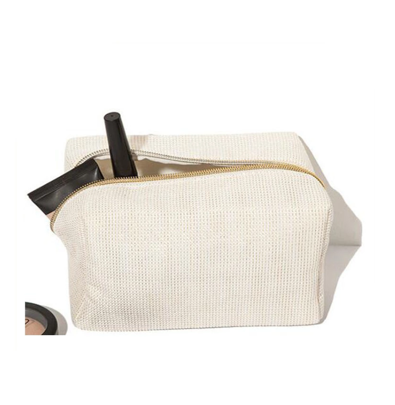 Eco-friendly Sustainable Plain Canvas Jute Makeup Bag Cosmetic Bag with Zipper