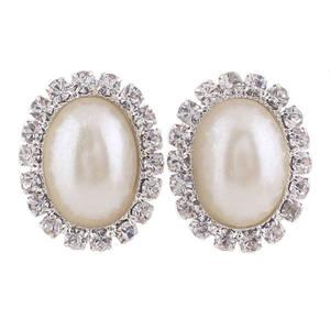 GRACE JUN Wholesale Fashion Earring for Women Girl Party Wedding Rhinestone Opal Geometric Earrings Ear Clip