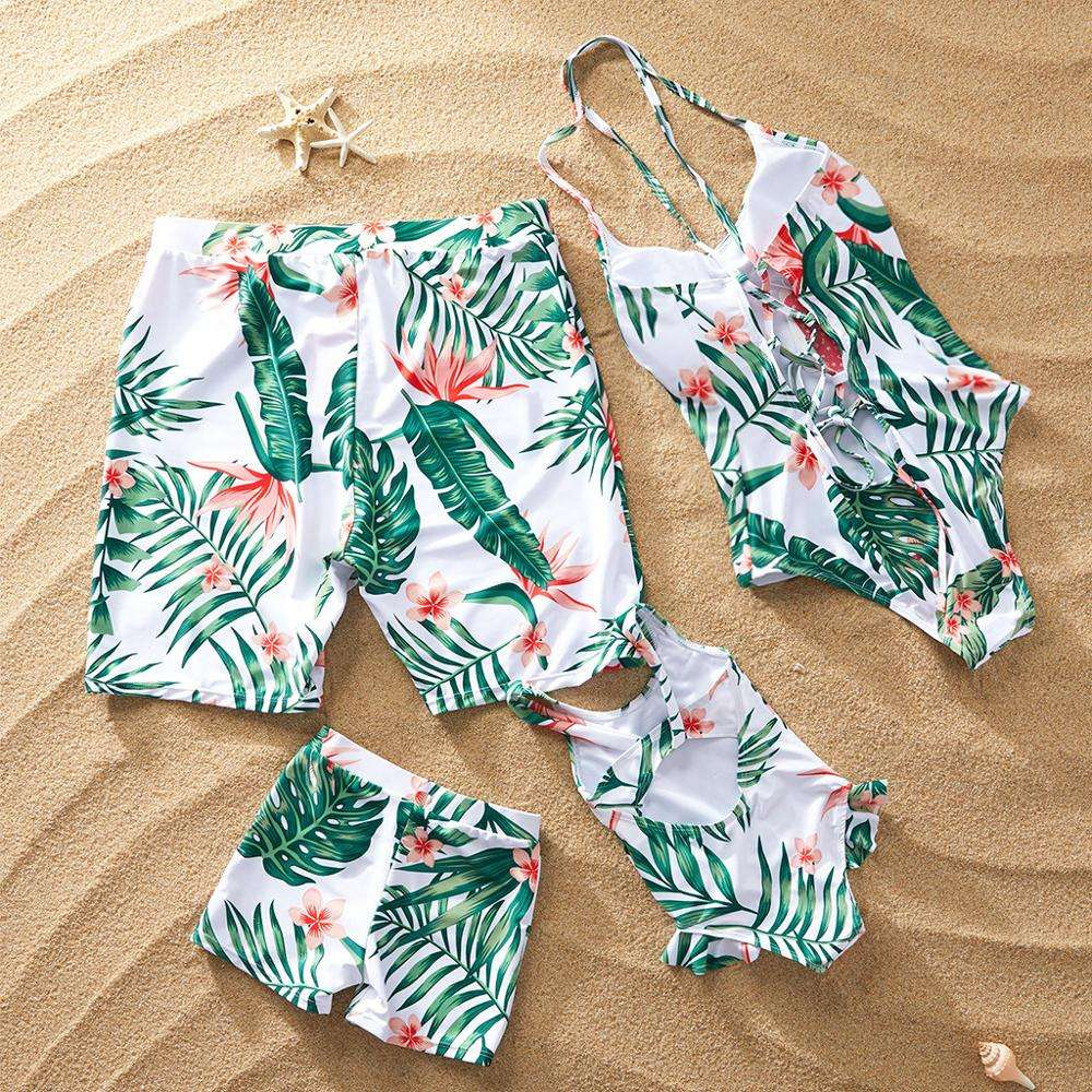 Matching Family Bathing Suits One piece Swimsuit For Mom and Daughter Swimsuits Female Children Men Boy Baby Kid Beach Swimwear