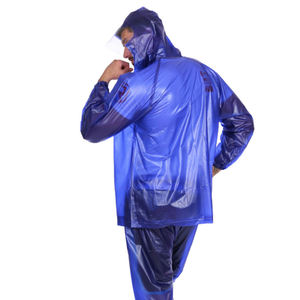 Cheap Waterproof Transparent PVC Plastic Soft Adult Couple Raincoat Suit with Pockets And Lengthened Brim Motorcycle Rain Wear