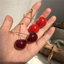 Kaimei 2019 Sweet Girls Cute Brincos Line Pendientes Jewelry Gifts New Japan Korean Cherry Shaped Drop Earrings For Women