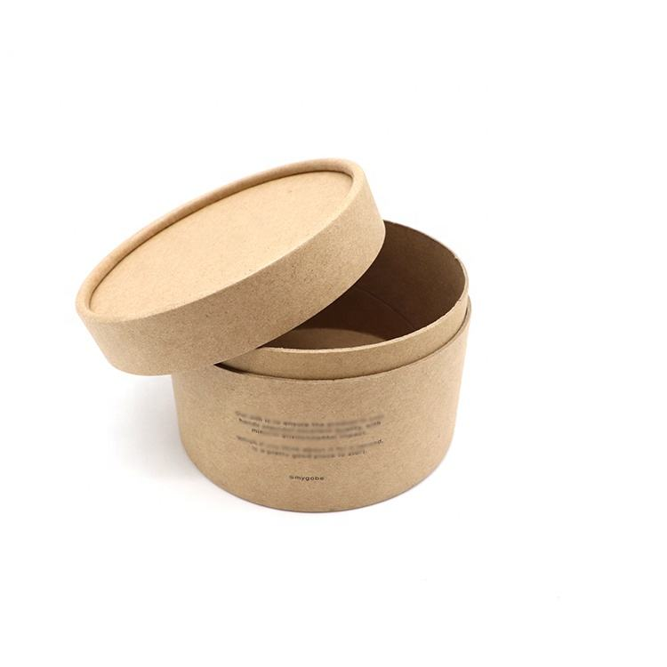 Custom Printed Cardboard Cylinder Candle Packaging Gift Round Kraft Paper Boxes With Lid