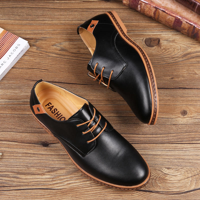 Wholesale custom brand breathable leather upper mens soft sole shoes