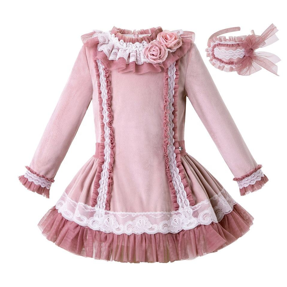 2020 Wholesale Girls Dresses Pink Sweet Princess Costume Winter Girls Clothes 10 12 year with Floral