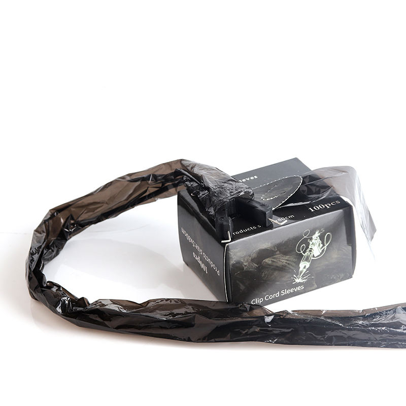 Hot sell Disposable 100pcs/box 5*80cm Black Color Tattoo Clip Cord Sleeves for Tattoo Clip Cord Cover